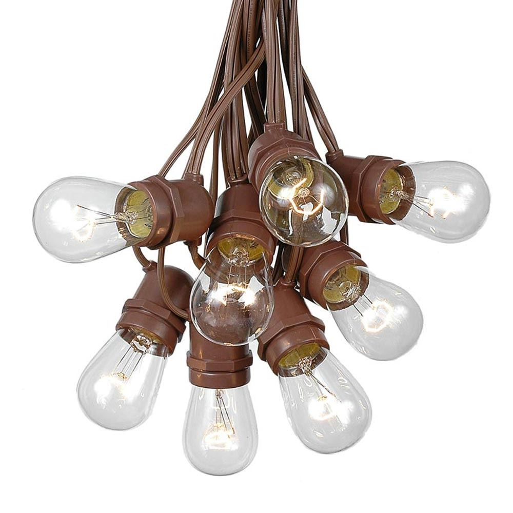 Picture of 25 Clear S14 Commercial Grade Light String Set on 37.5' of Brown Wire