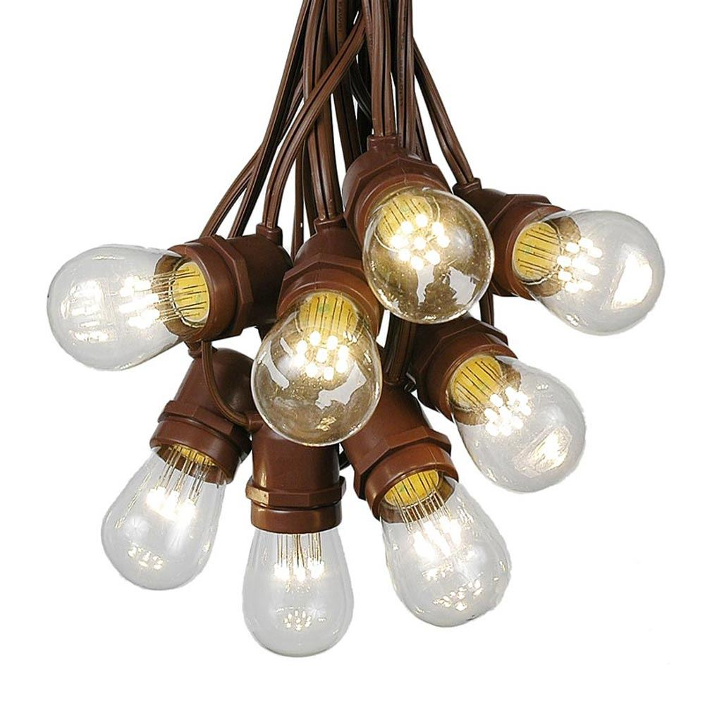 Picture of 50 LED S14 Warm White Commercial Grade Light String Set on 100' of Brown Wire