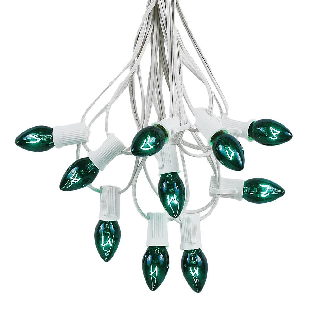 Picture of 100 C7 String Light Set with Green Bulbs on White Wire