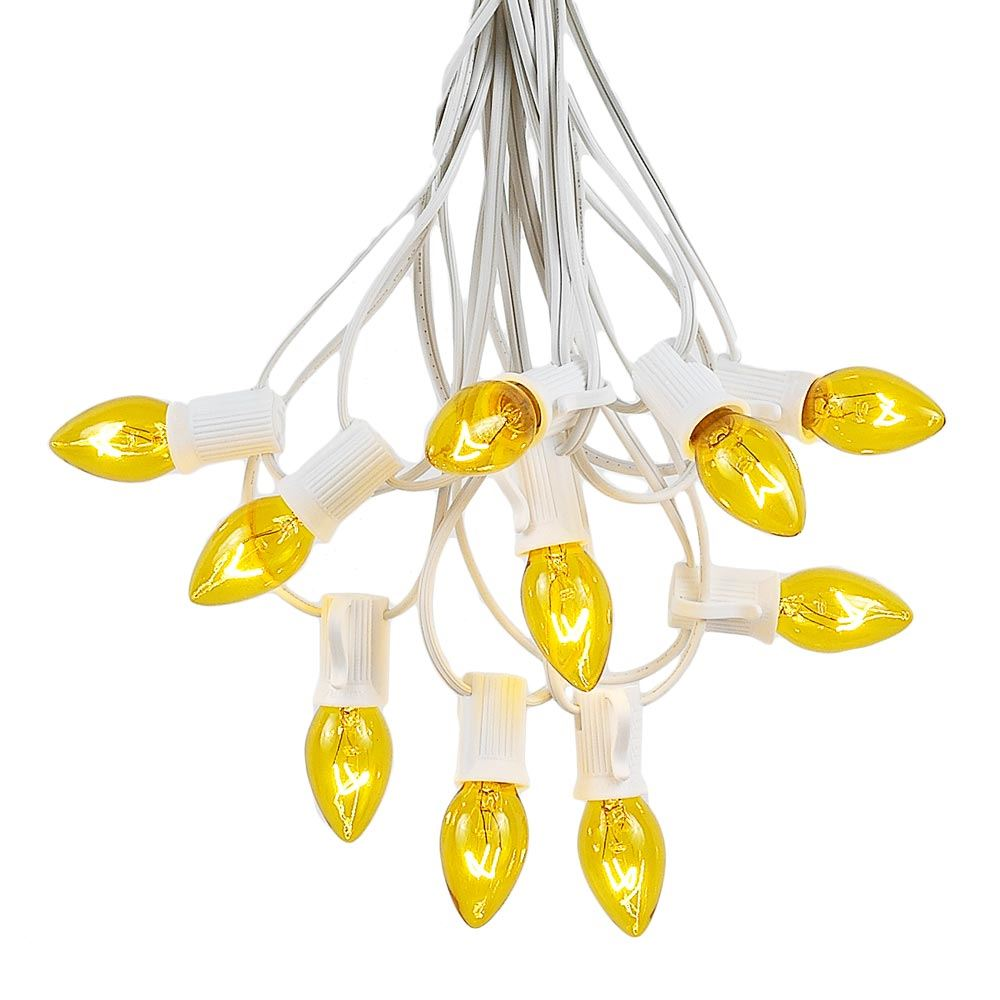 Picture of 25 Light String Set with Yellow/Gold Transparent C7 Bulbs on White Wire