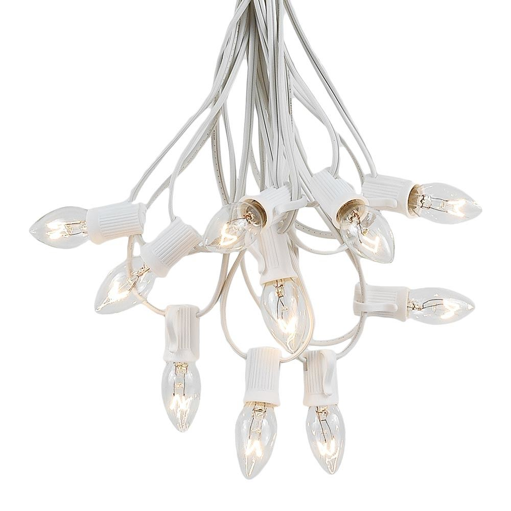 Picture of 100 C7 String Light Set with Clear Bulbs on White Wire