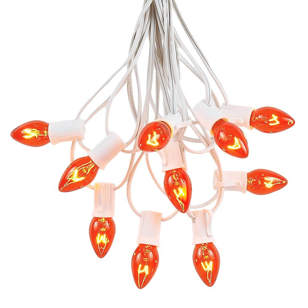 Picture of 25 Light String Set with Amber/Orange Transparent C7 Bulbs on White Wire
