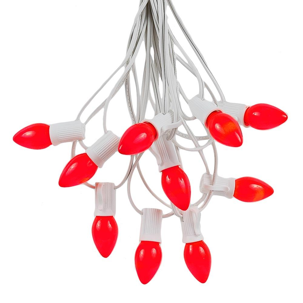 Picture of 100 C7 String Light Set with Red Ceramic Bulbs on White Wire