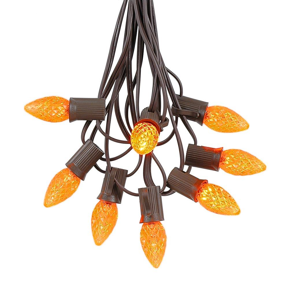 Picture of 25 Light String Set with Amber/Orange LED C7 Bulbs on Brown Wire