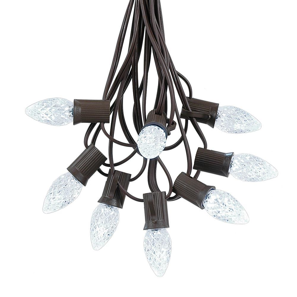 Picture of 25 Light String Set with Pure White LED C7 Bulbs on Brown Wire