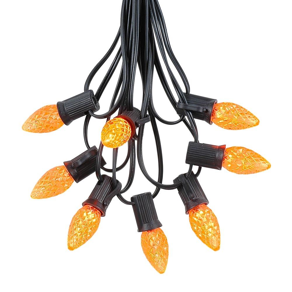 Picture of 25 Light String Set with Amber/Orange LED C7 Bulbs on Black Wire