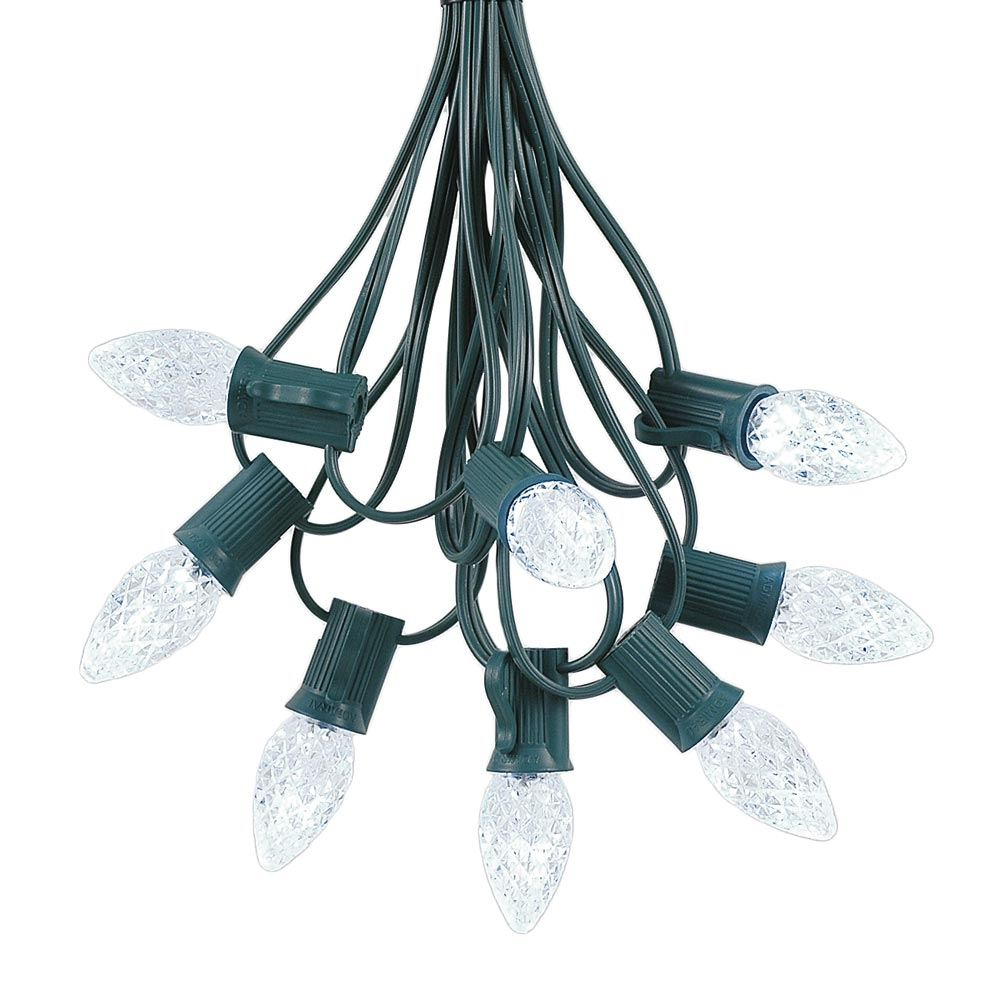 Picture of 25 Light String Set with Pure White LED C7 Bulbs on Green Wire