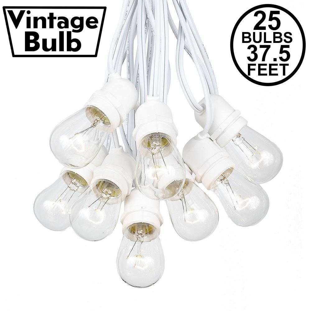 Picture of 25 Clear S14 Commercial Grade Light String Set on 37.5' of White Wire