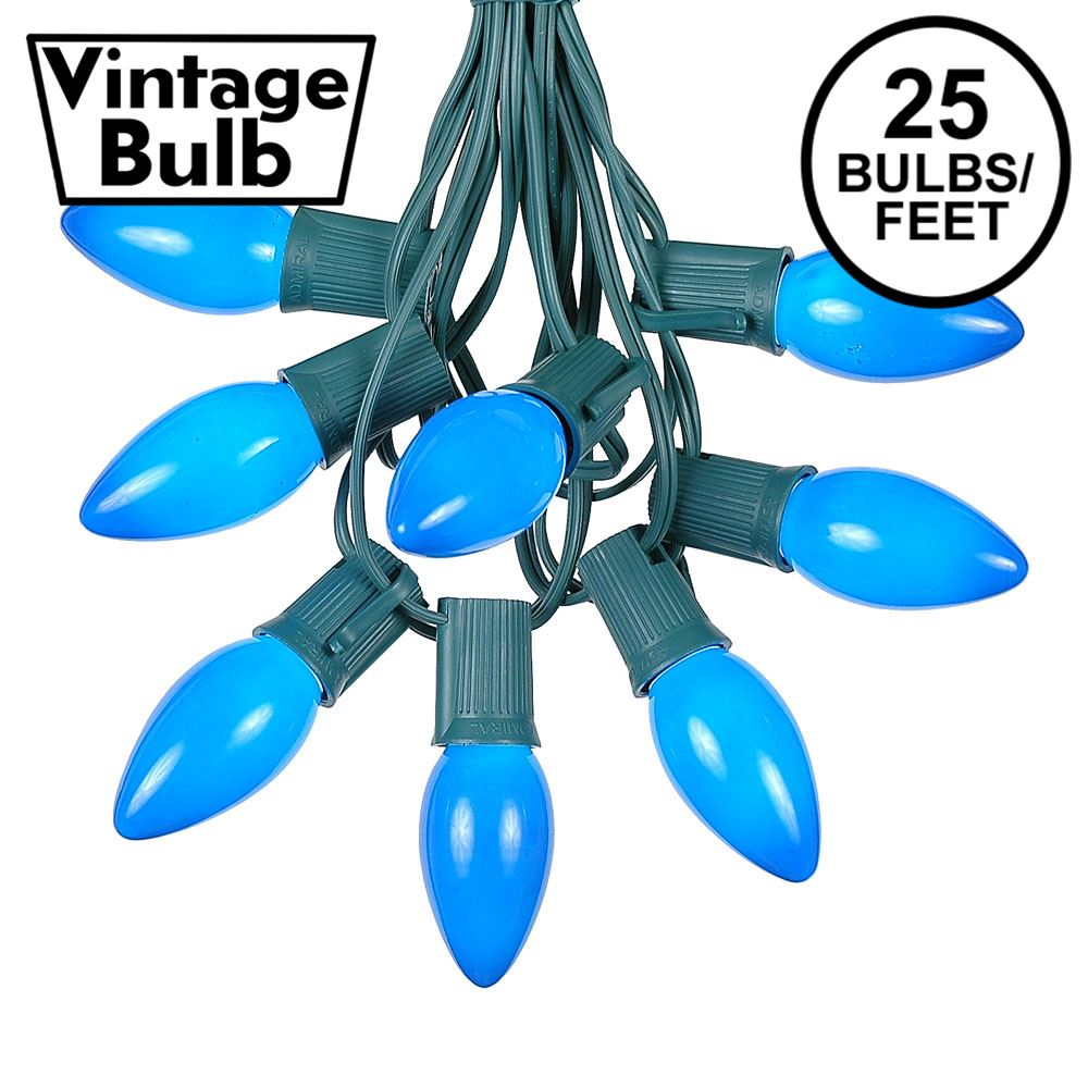 Picture of C9 25 Light String Set with Ceramic Blue Bulbs on Green Wire