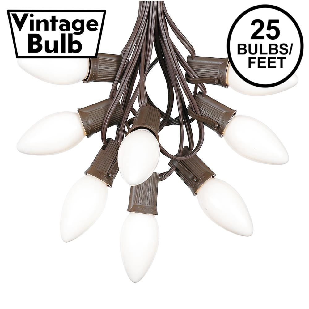 Picture of C9 25 Light String Set with Ceramic White Bulbs on Brown Wire