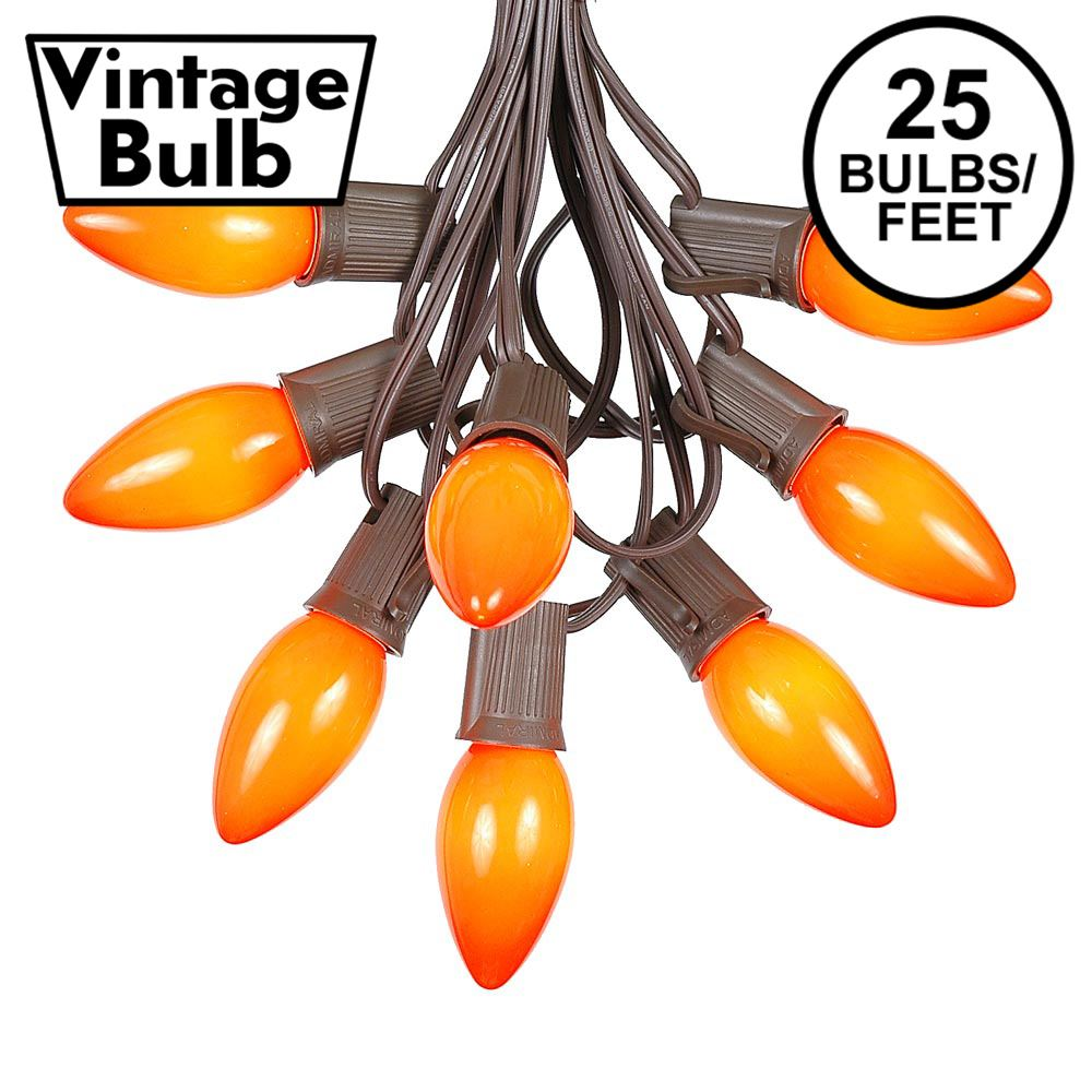 Picture of C9 25 Light String Set with Ceramic Orange Bulbs on Brown Wire