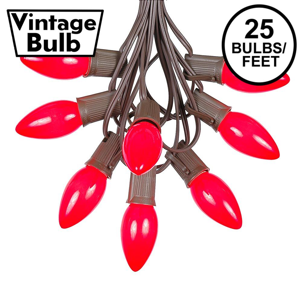 Picture of C9 25 Light String Set with Ceramic Red Bulbs on Brown Wire