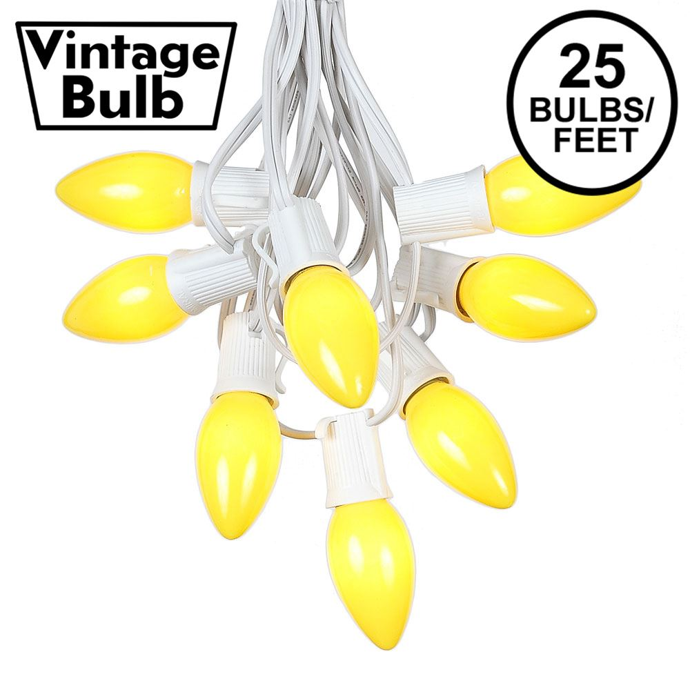 Picture of C9 25 Light String Set with Ceramic Yellow Bulbs on White Wire