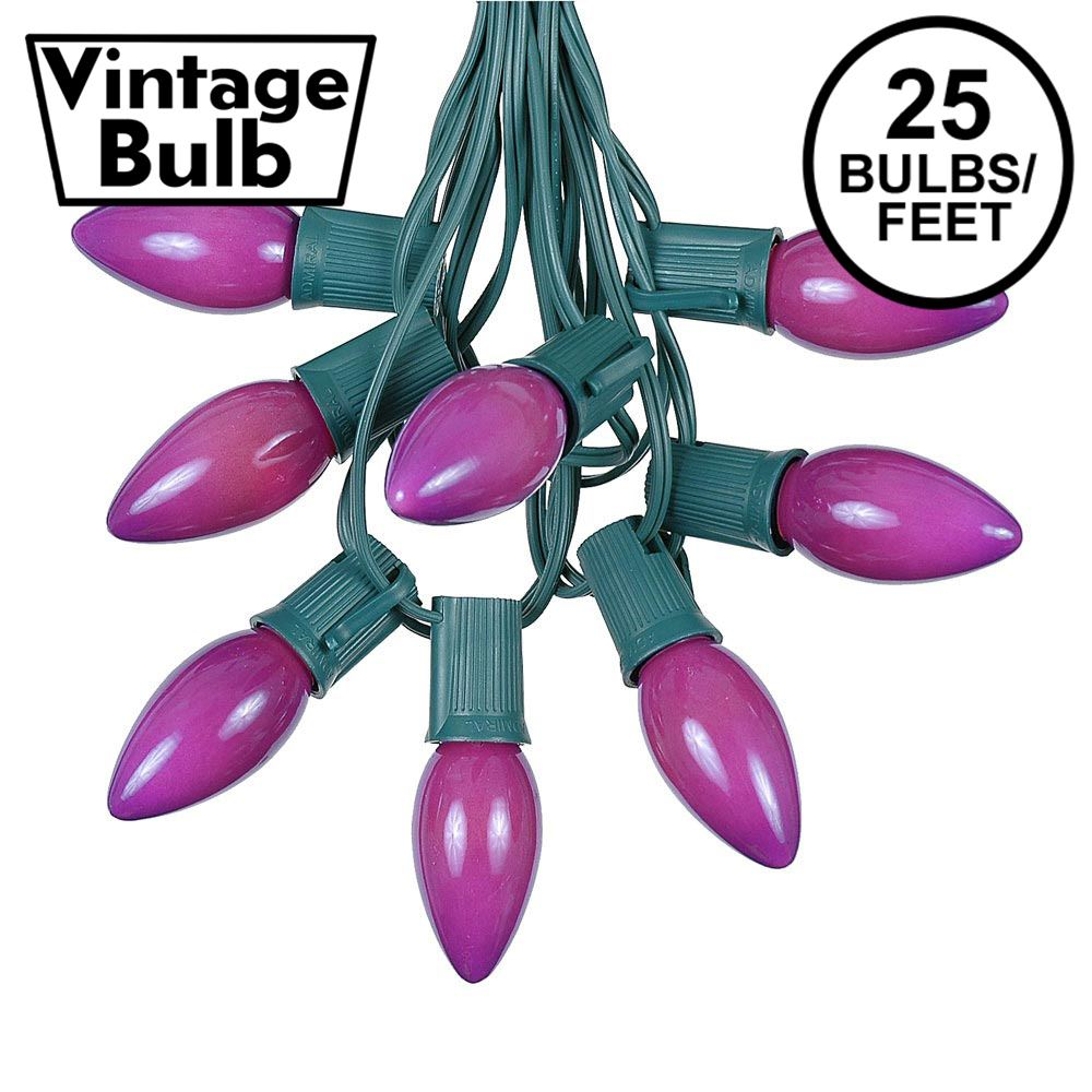 Picture of C9 25 Light String Set with Ceramic Purple Bulbs on Green Wire