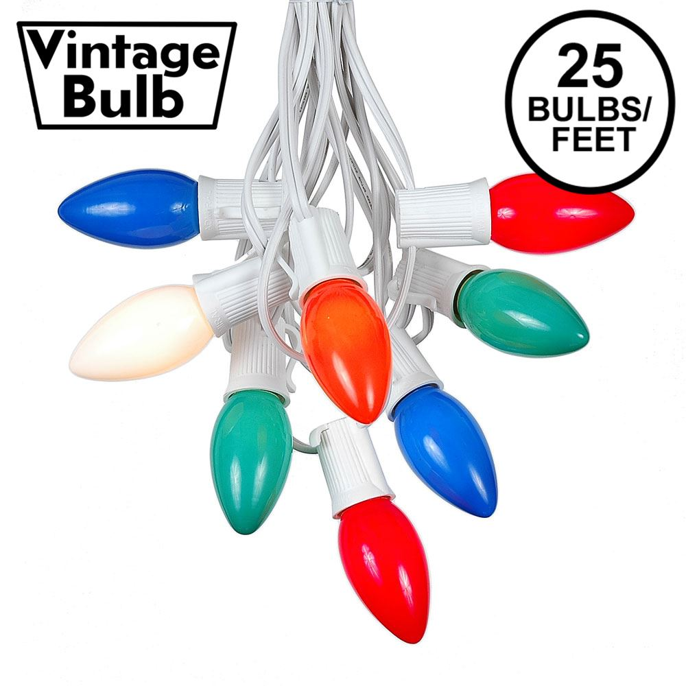 Picture of C9 25 Light String Set with Ceramic Assorted Bulbs on White Wire