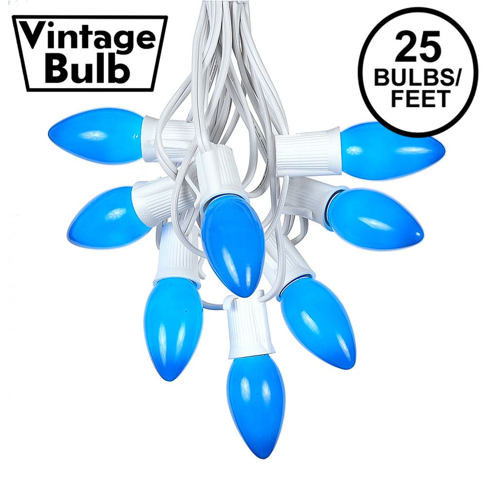 Picture of C9 25 Light String Set with Ceramic Blue Bulbs on White Wire