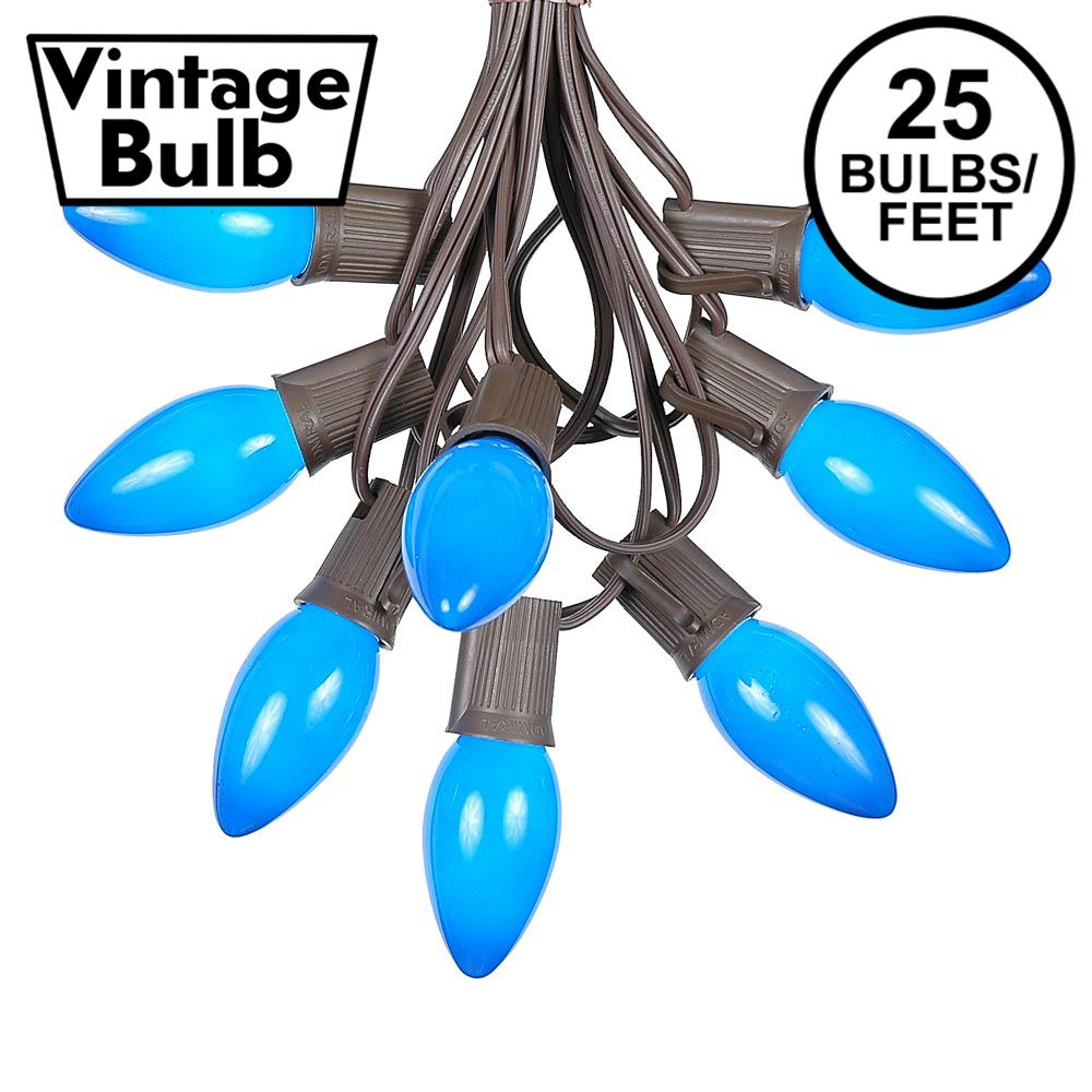 Picture of C9 25 Light String Set with Ceramic Blue Bulbs on Brown Wire