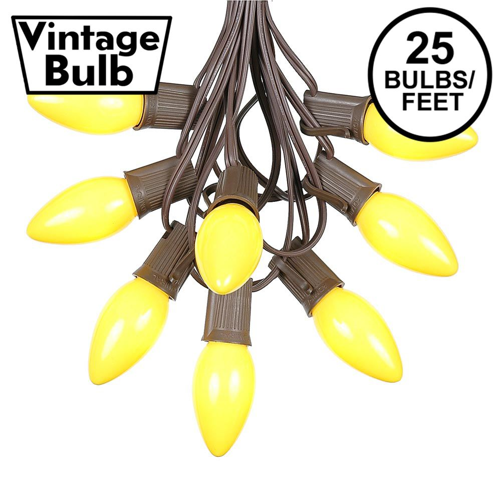 Picture of C9 25 Light String Set with Ceramic Yellow Bulbs on Brown Wire