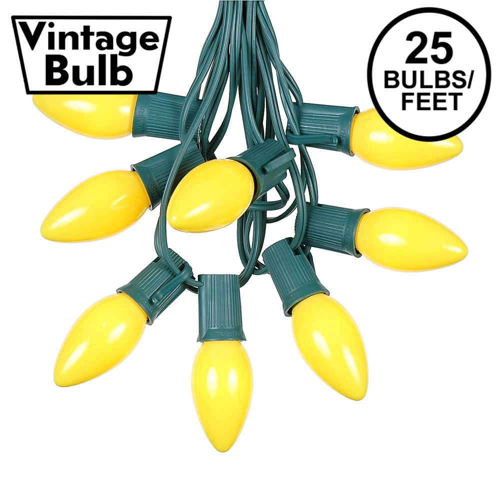 Picture of C9 25 Light String Set with Ceramic Yellow Bulbs on Green Wire