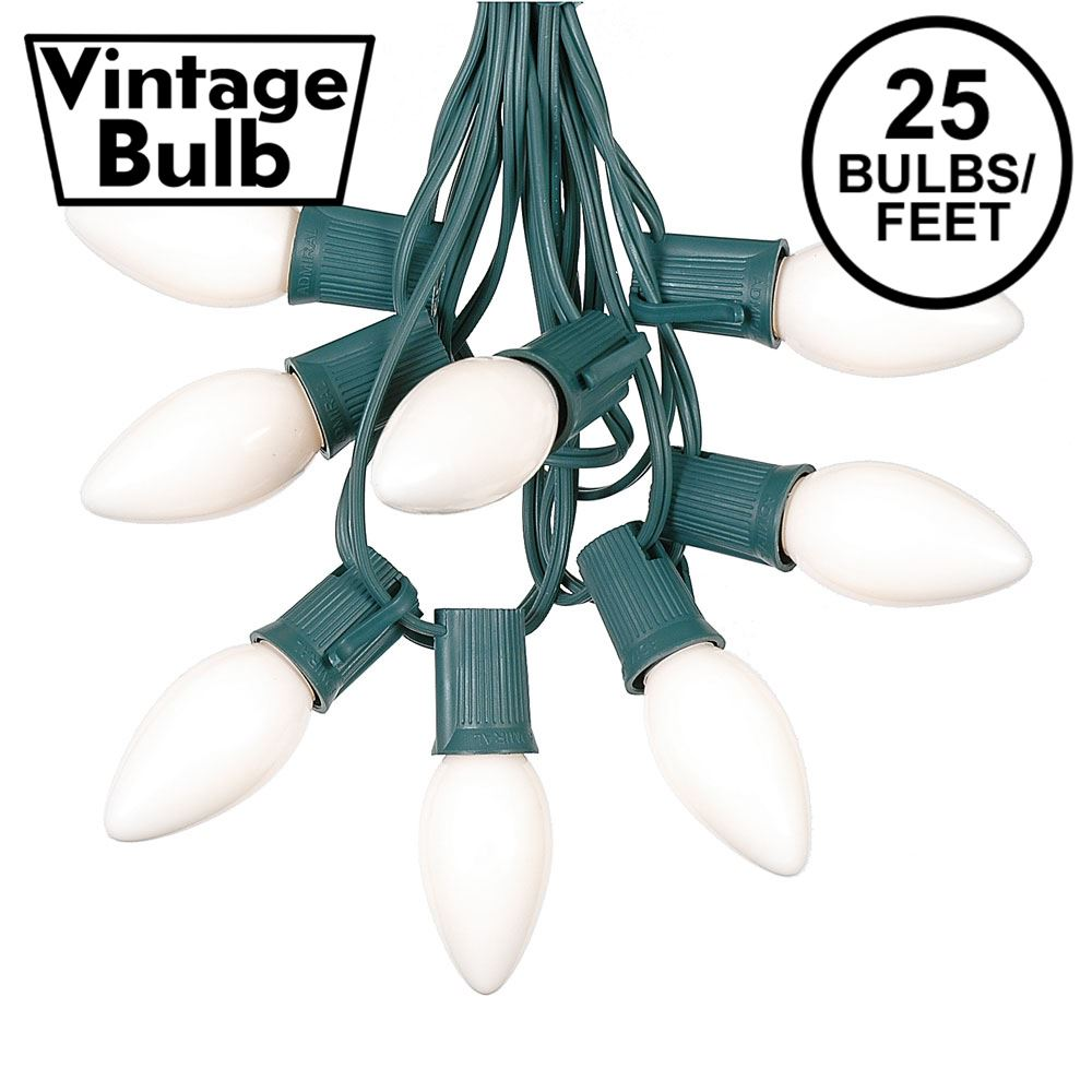 Picture of C9 25 Light String Set with Ceramic White Bulbs on Green Wire