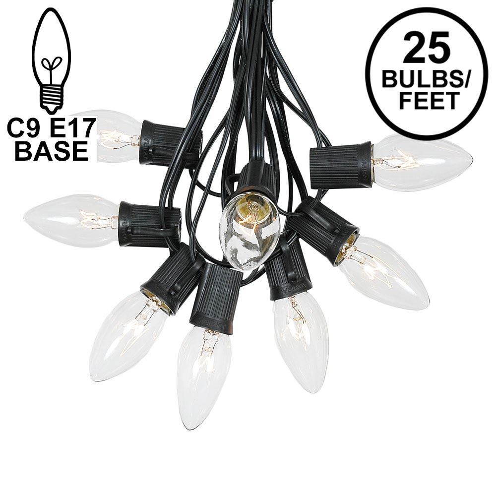 Picture of C9 25 Light String Set with Clear Bulbs on Black Wire