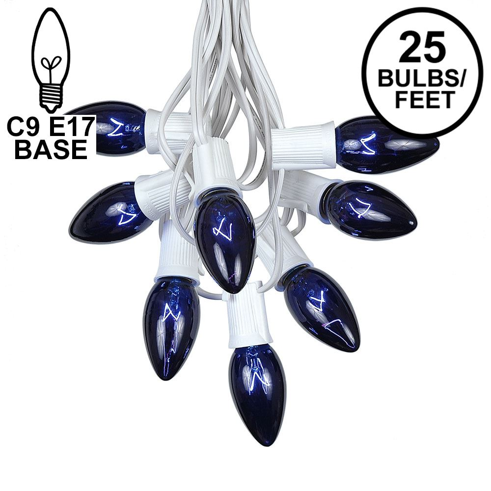 Picture of C9 25 Light String Set with Blue Bulbs on White Wire