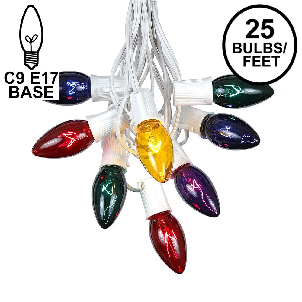 Picture of C9 25 Light String Set with Assorted Bulbs on White Wire