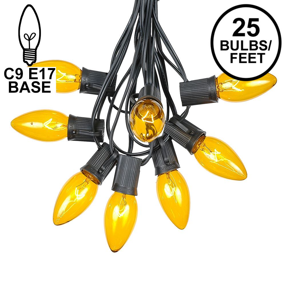 Picture of C9 25 Light String Set with Yellow Bulbs on Black Wire