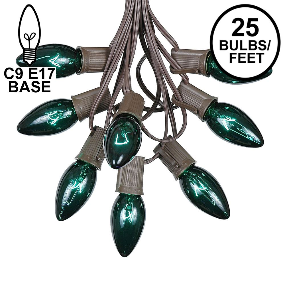 Picture of C9 25 Light String Set with Green Bulbs on Brown Wire