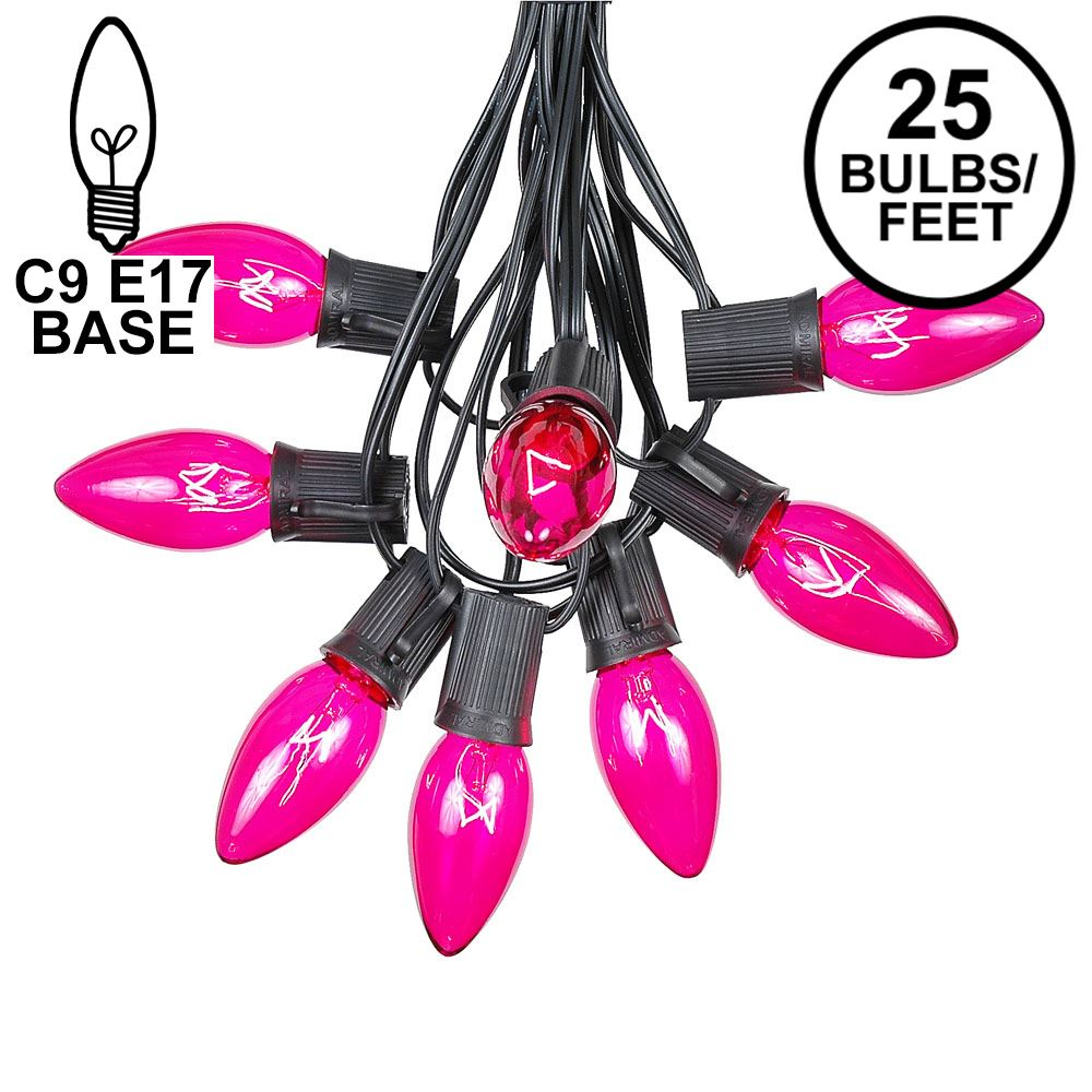 Picture of C9 25 Light String Set with Pink Bulbs on Black Wire