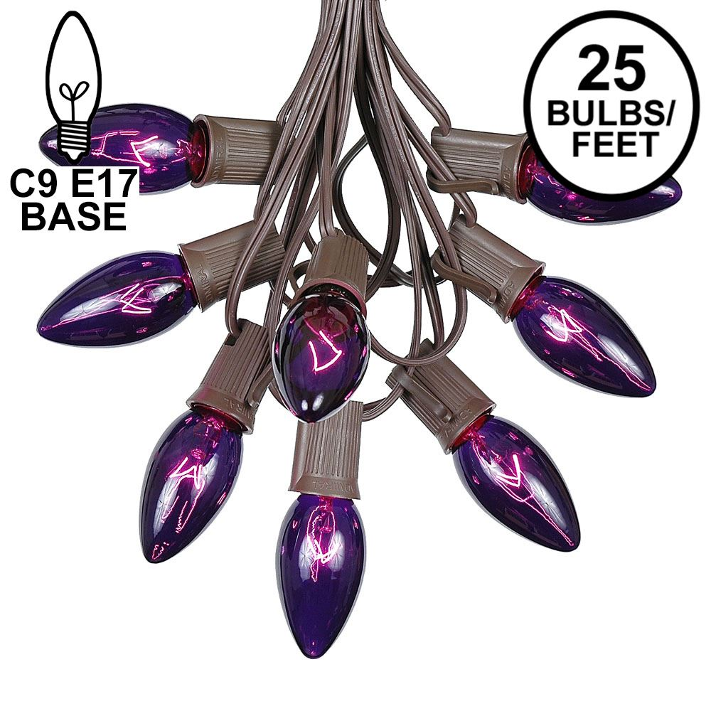 Picture of C9 25 Light String Set with Purple Bulbs on Brown Wire