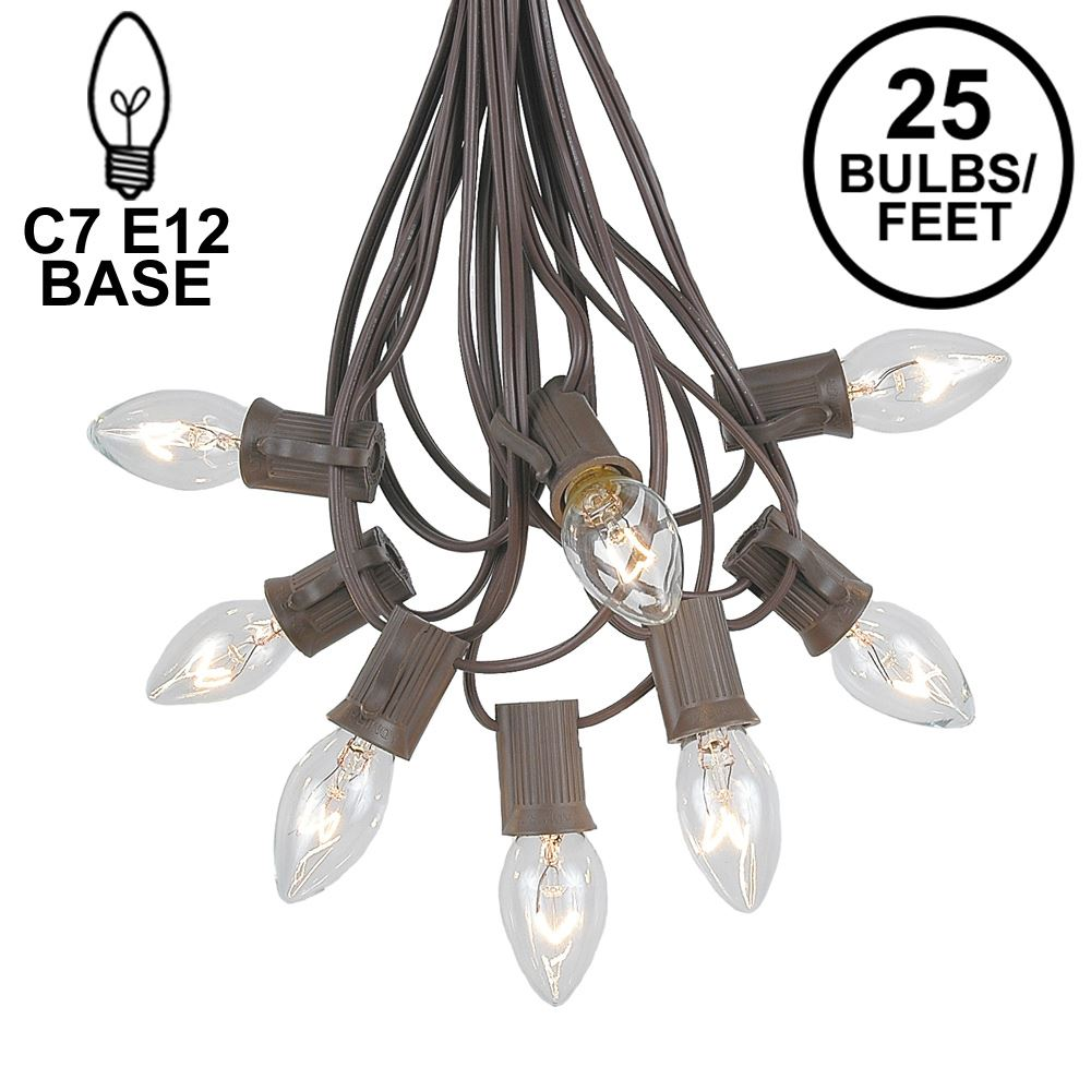 Picture of C7 25 Light String Set with Clear Twinkle Bulbs on Brown Wire