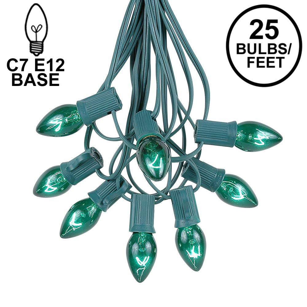 Picture of C7 25 Light String Set with Green Twinkle Bulbs on Green Wire