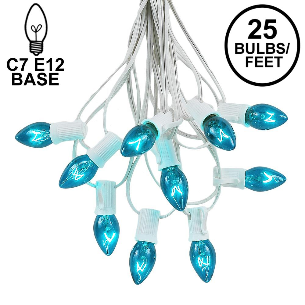 Picture of 25 Light String Set with Teal Transparent C7 Bulbs on White Wire