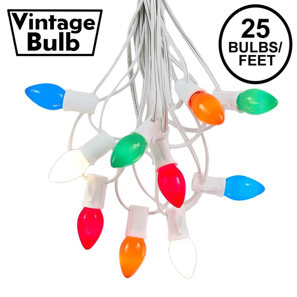 Picture of 25 Light String Set with Multi Ceramic C7 Bulbs on White Wire
