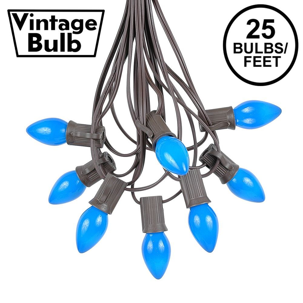 Picture of 25 Light String Set with Blue Ceramic C7 Bulbs on Brown Wire