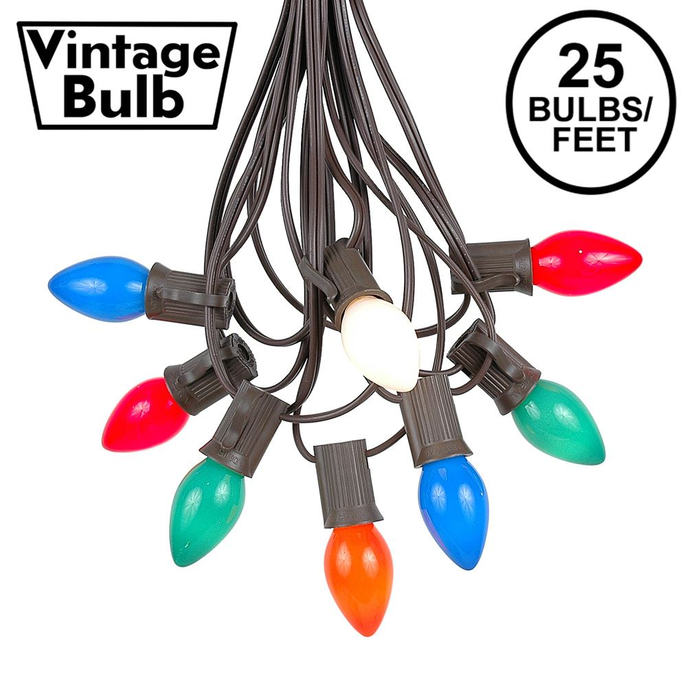 Picture of 25 Light String Set with Assorted Ceramic C7 Bulbs on Brown Wire