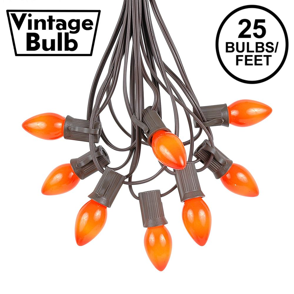 Picture of 25 Light String Set with Orange Ceramic C7 Bulbs on Brown Wire