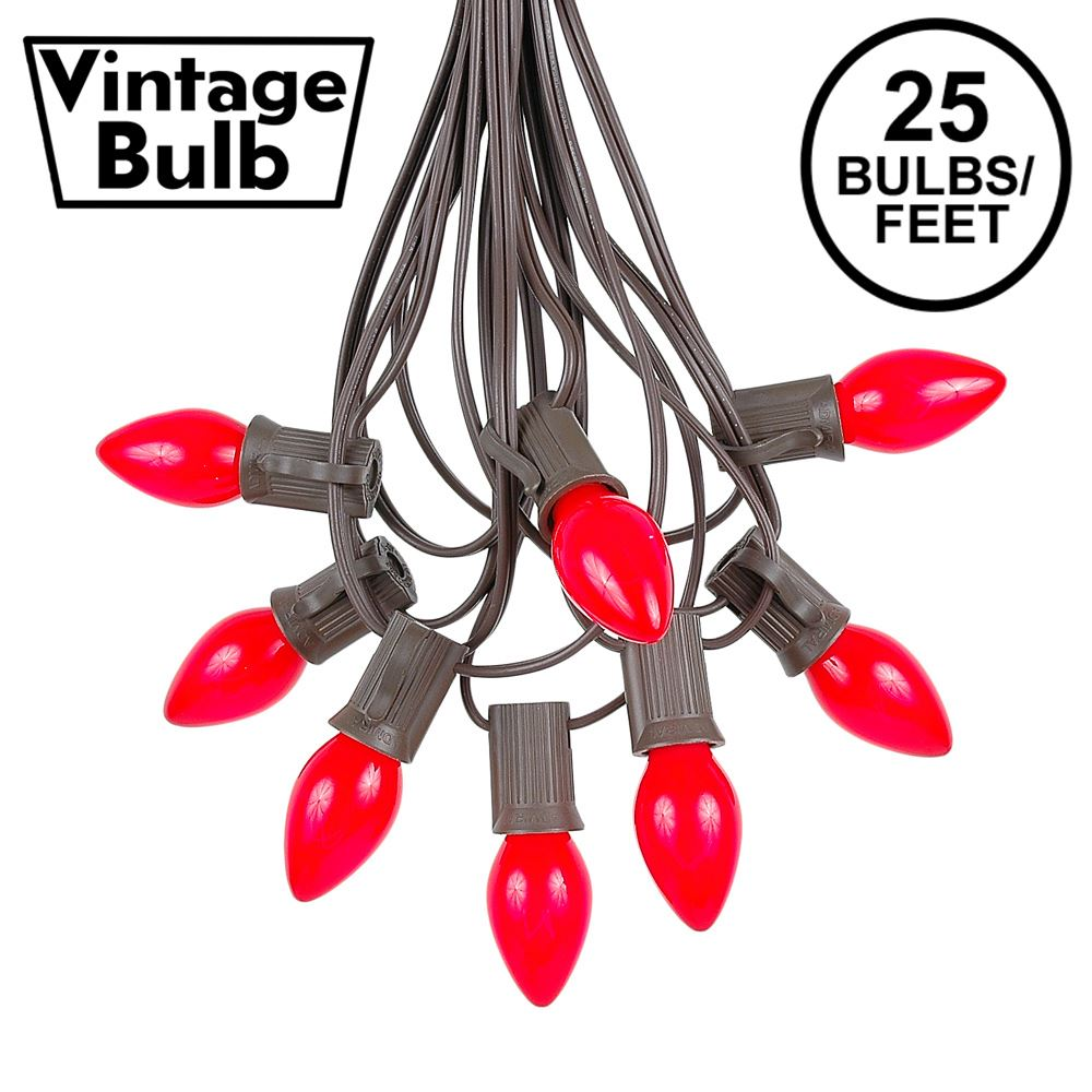 Picture of 25 Light String Set with Red Ceramic C7 Bulbs on Brown Wire