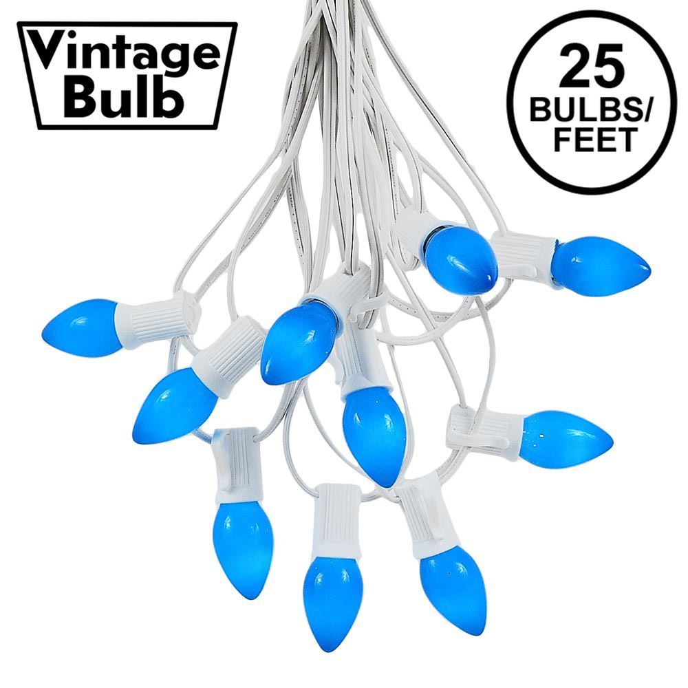Picture of 25 Light String Set with Blue Ceramic C7 Bulbs on White Wire