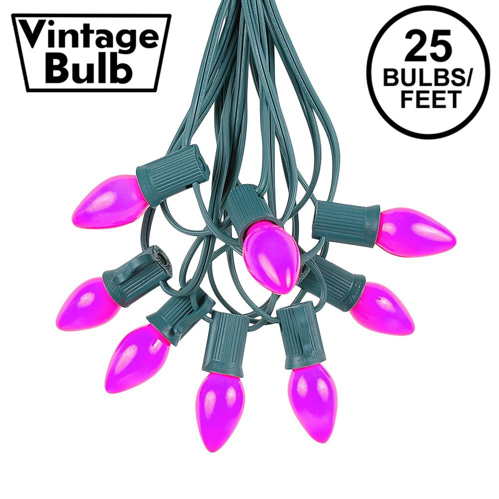 Picture of 25 Light String Set with Purple Ceramic C7 Bulbs on Green Wire