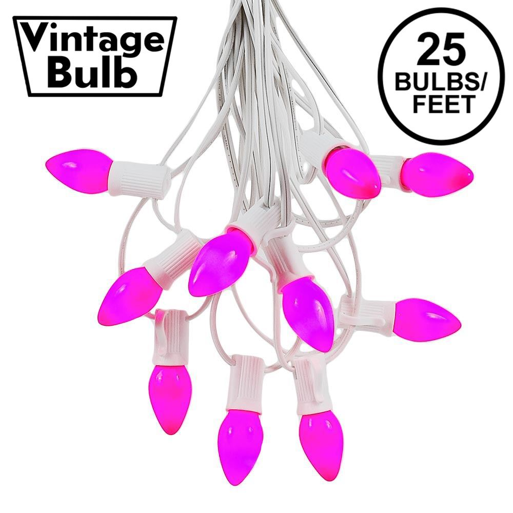 Picture of 25 Light String Set with Purple Ceramic C7 Bulbs on White Wire