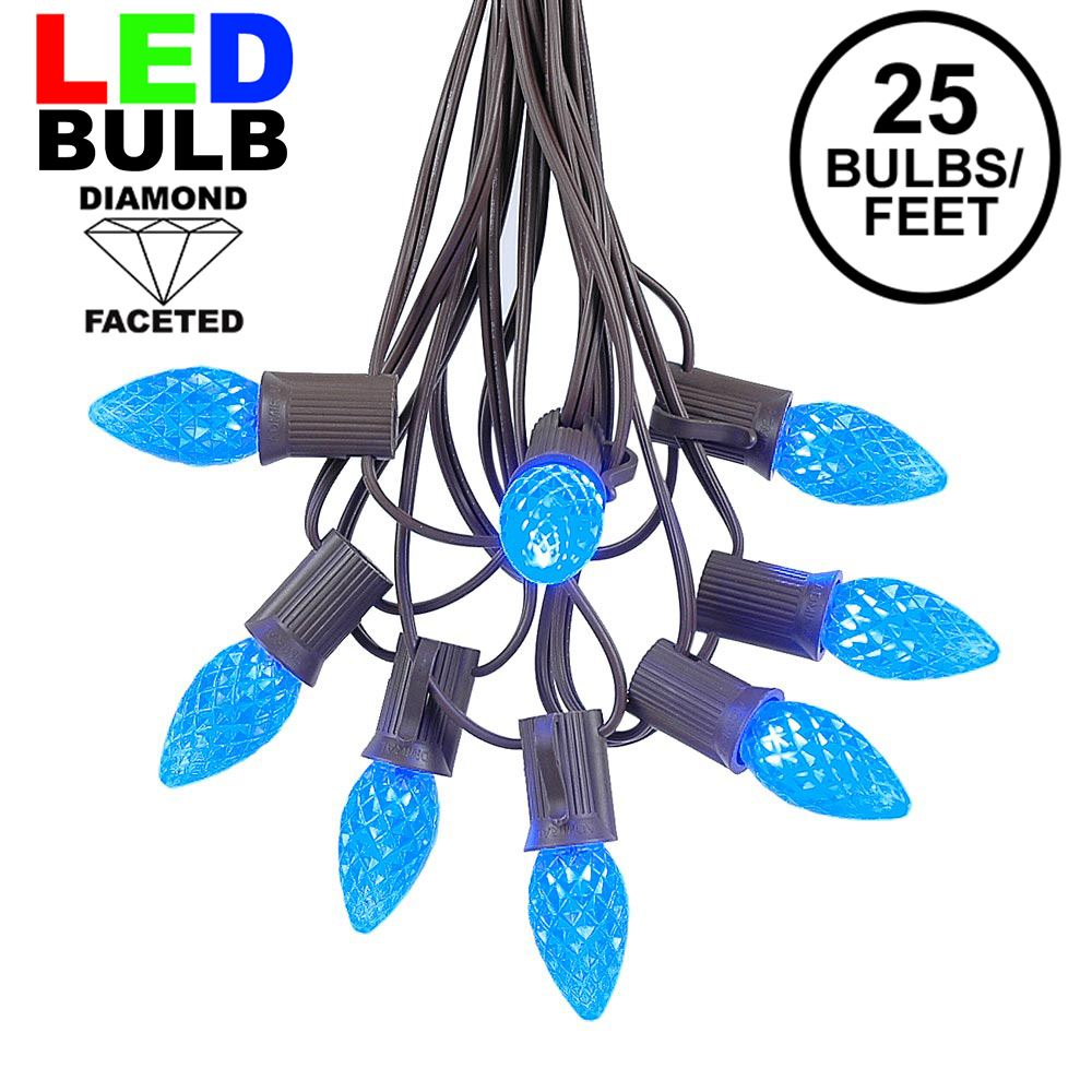 Picture of 25 Light String Set with Blue LED C7 Bulbs on Brown Wire