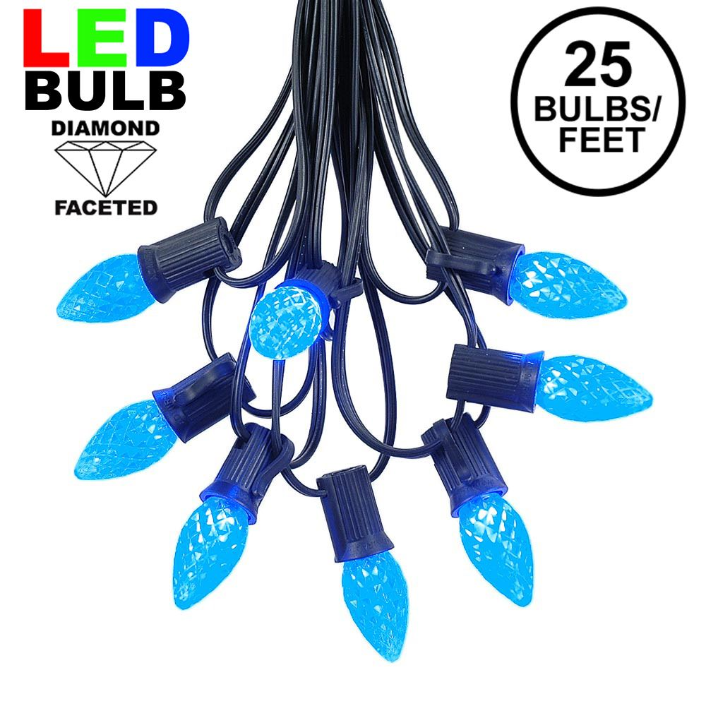 Picture of 25 Light String Set with Blue LED C7 Bulbs on Black Wire