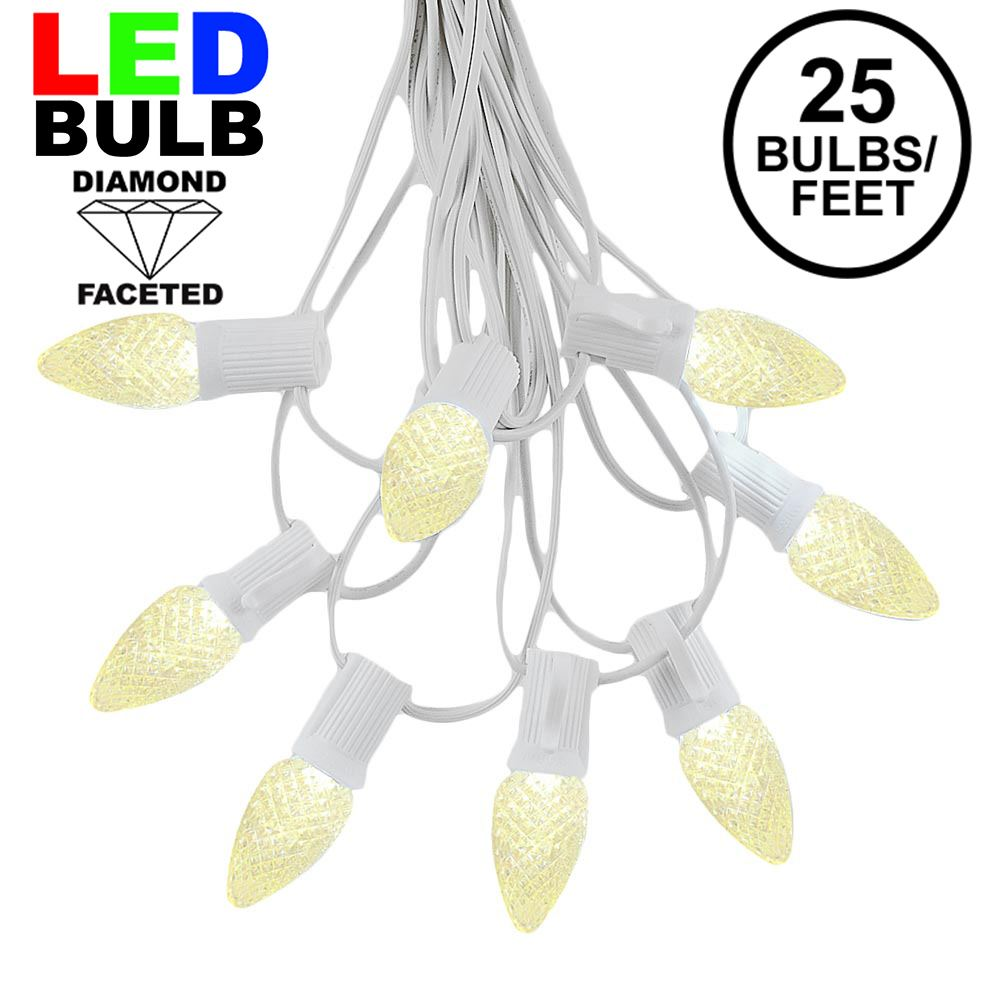 Picture of 25 Light String Set with Warm White LED C7 Bulbs on White Wire