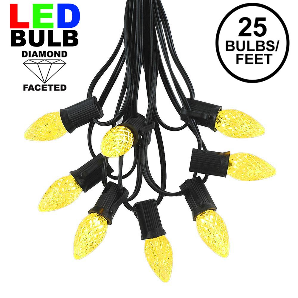 Picture of 25 Light String Set with Yellow LED C7 Bulbs on Black Wire