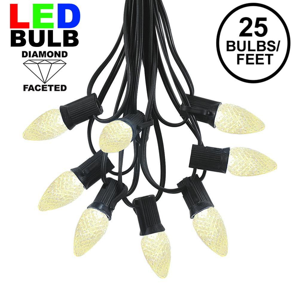 Picture of 25 Light String Set with Warm White LED C7 Bulbs on Black Wire