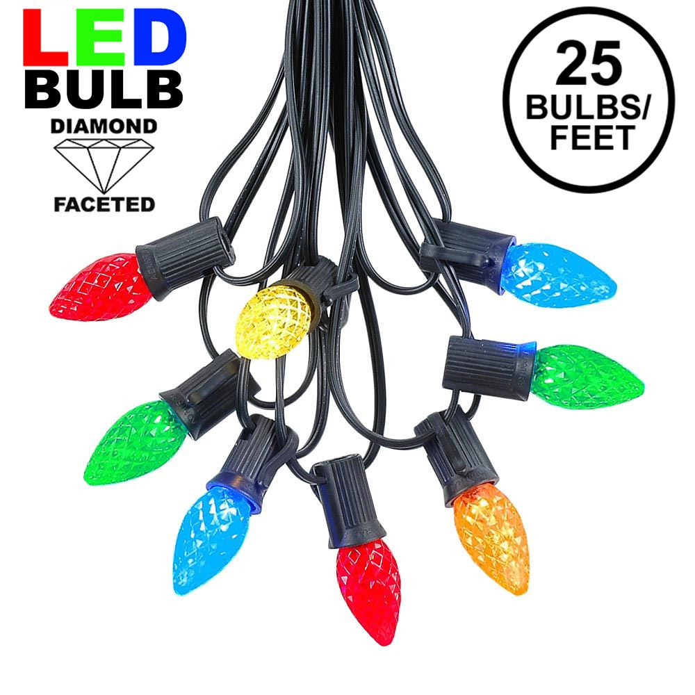 Picture of 25 Light String Set with Multi Colored LED C7 Bulbs on Black Wire
