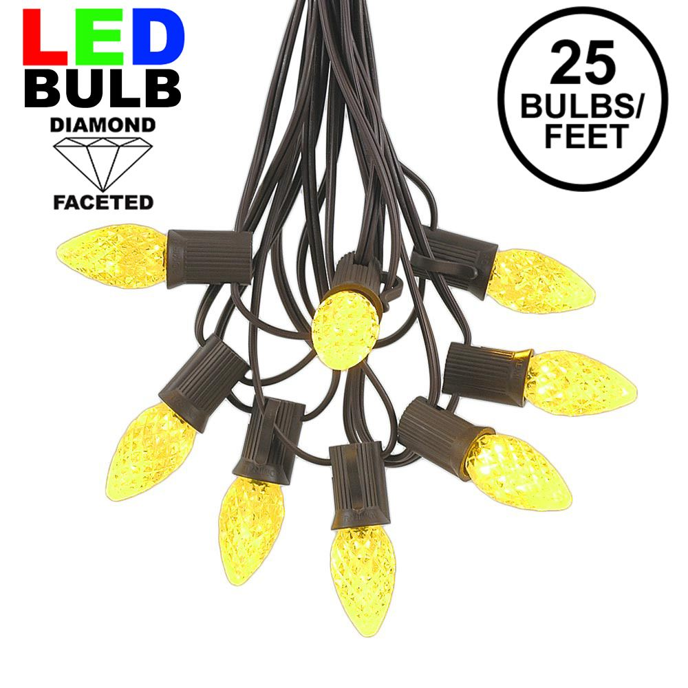 Picture of 25 Light String Set with Yellow LED C7 Bulbs on Brown Wire