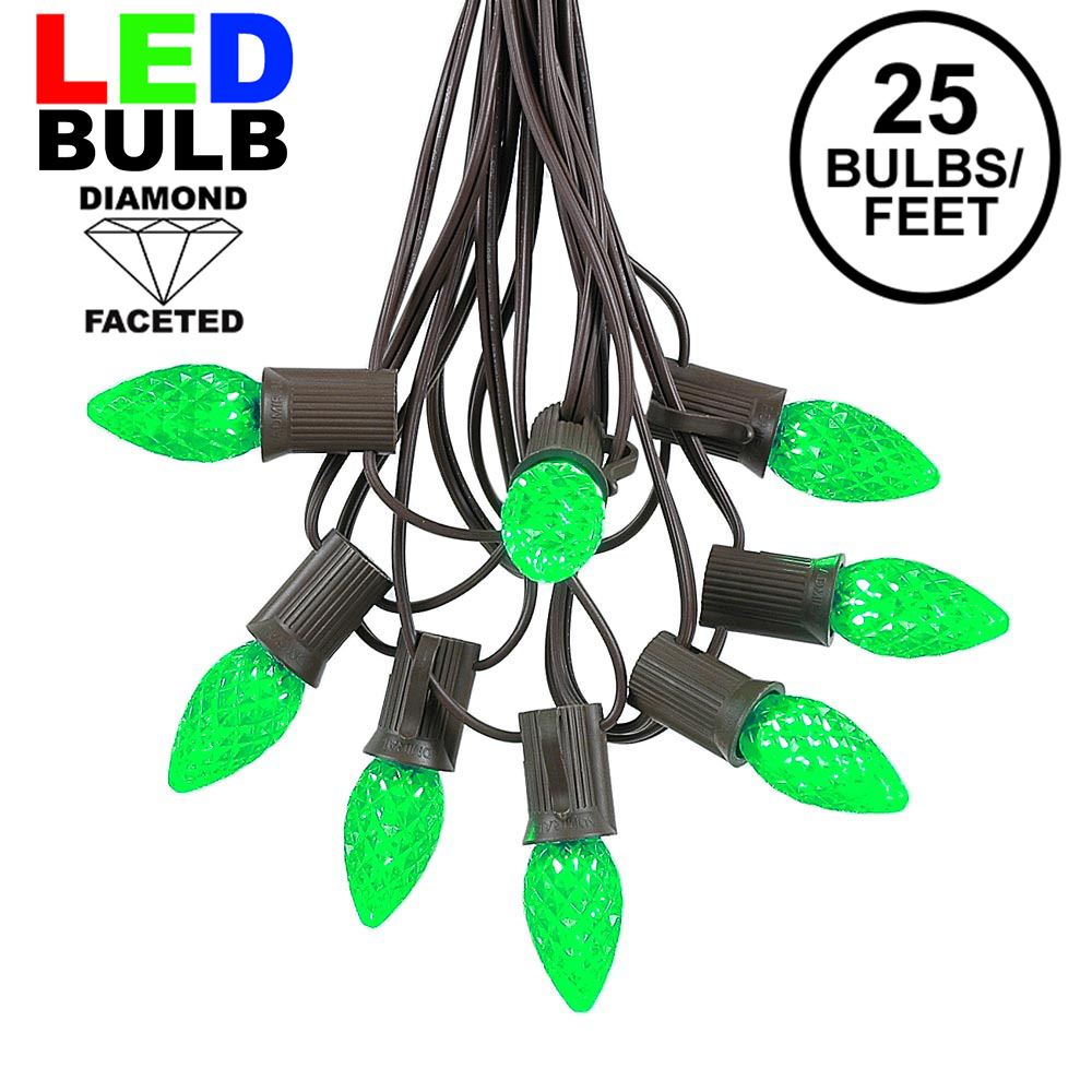Picture of 25 Light String Set with Green LED C7 Bulbs on Brown Wire